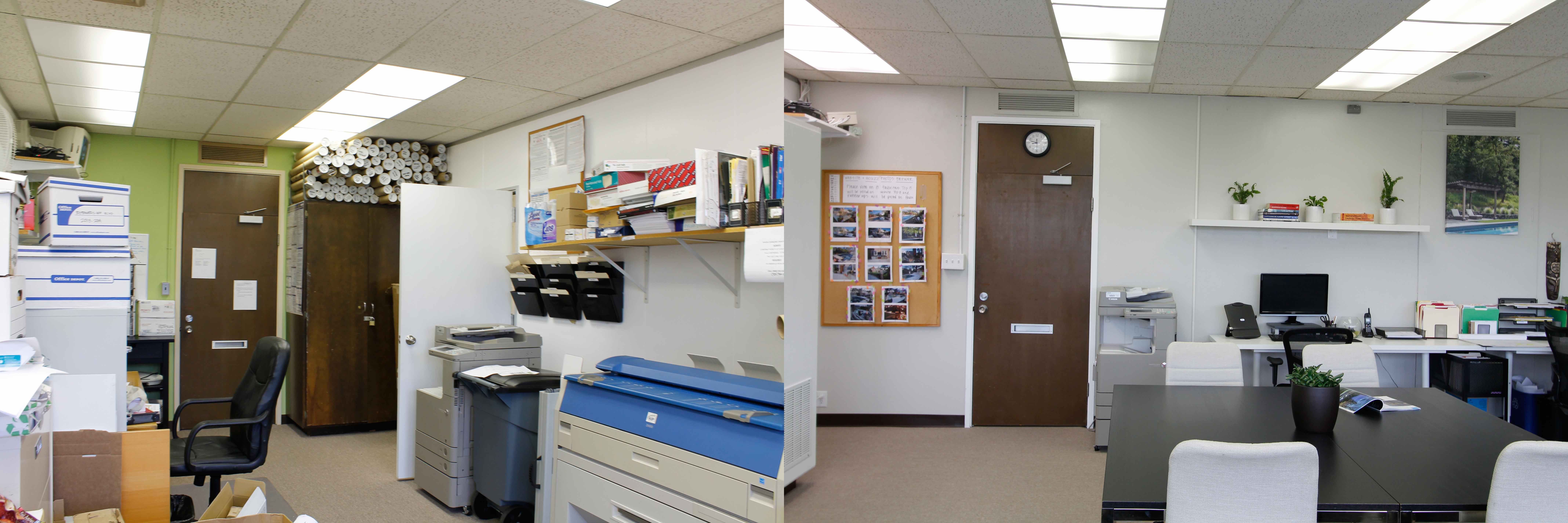 Before and After of the Office Remodel